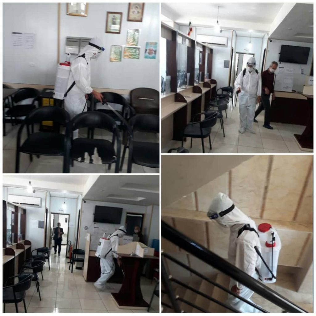 ضدعفونی دفتر الكترونیكی قضایی شهرستان قدس توسط نیروهای ایستگاه شماره یك آتش نشانی